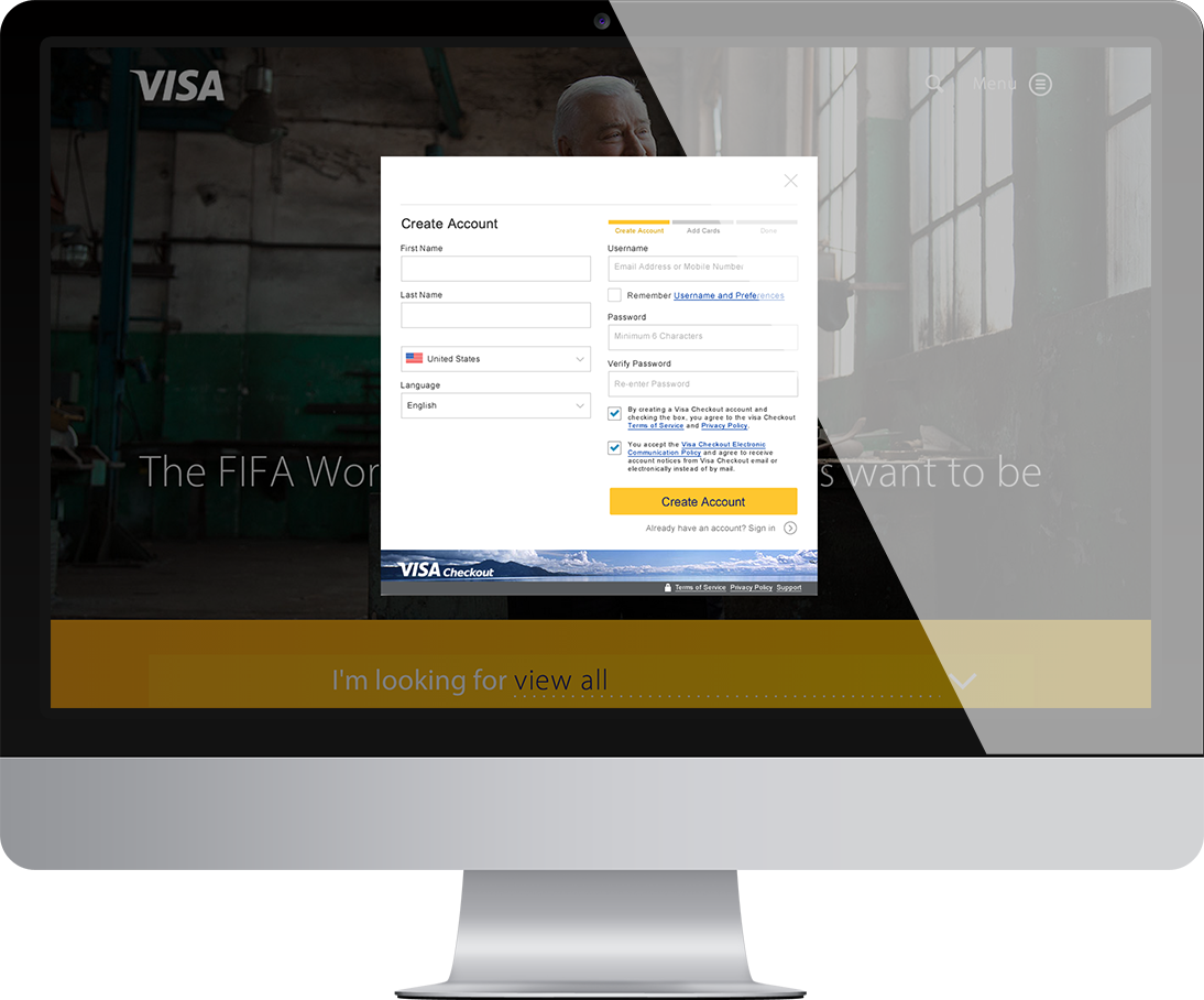A computer monitor displaying a Visa Checkout enrollment form.