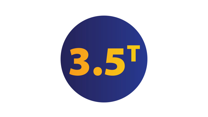 Illustration of a blue circle with the text '3.5T' in the center.
