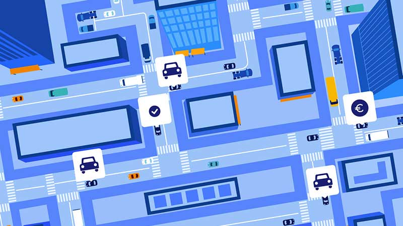Illustration of an overhead view of ridesharing options on city streets.