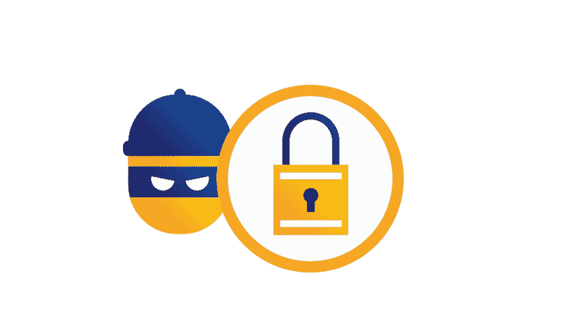 Padlock within circle partially overlapping illustration of burglar.