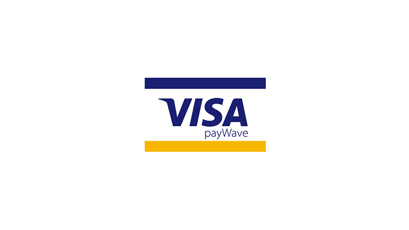 Full-color Visa payWave POS graphic.